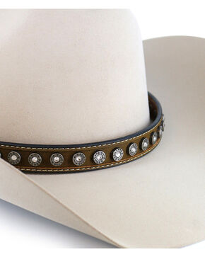 Cody James Men's Brown Silver 9mm Concho Hatband, Brown, hi-res