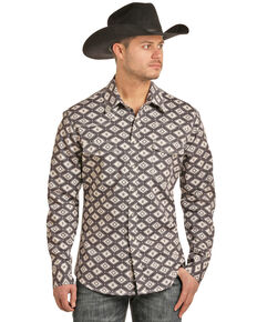 Rock & Roll Denim Men's FR Printed Aztec Twill Long Sleeve Work Shirt - Big , Charcoal, hi-res