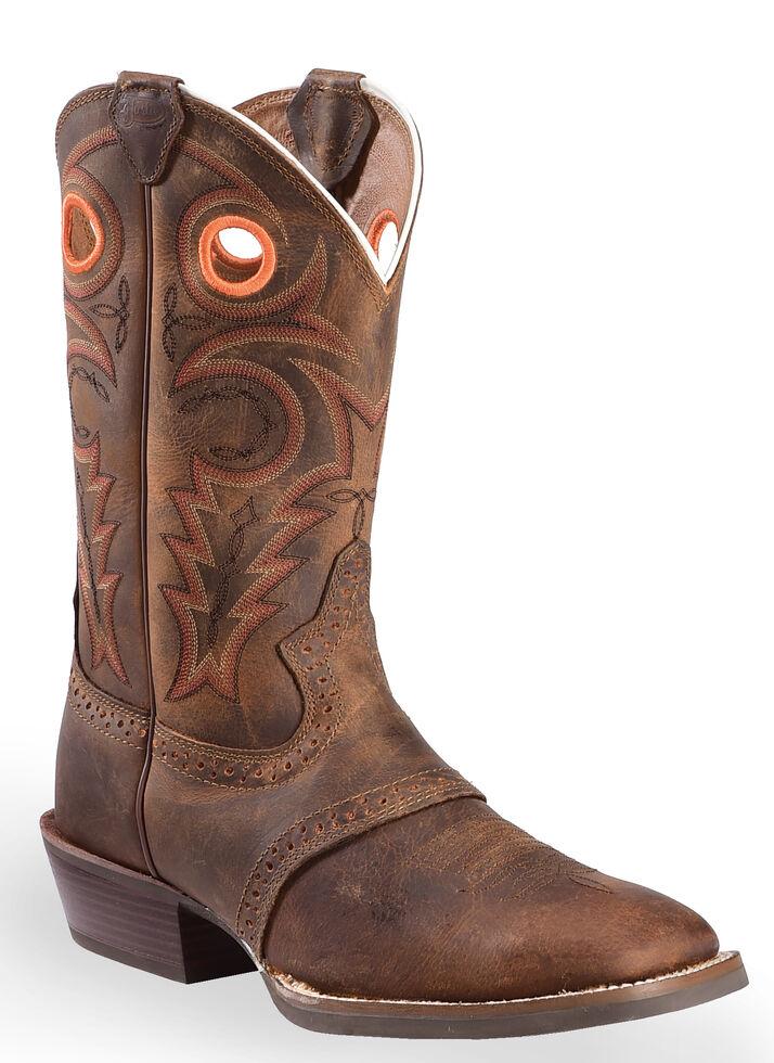 Justin Men's Silver Saddle Vamp Cowboy Boots - Square Toe, Whiskey, hi-res