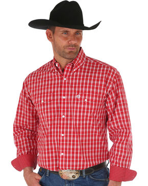 Wrangler George Strait Men's Red Checker Plaid Shirt , Red, hi-res