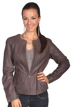 Scully Lambskin Zip Front Jacket, Grey, hi-res