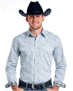 Rough Stock by Panhandle Men's Corsico Vintage Print Long Sleeve Western Shirt, Grey, hi-res