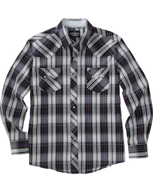 Garth Brooks Sevens by Cinch Purple and Grey Plaid Western Shirt , Multi, hi-res