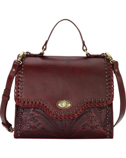 American West Women's Crimson Hidalgo Top Handle Convertible Flap Bag , Red, hi-res