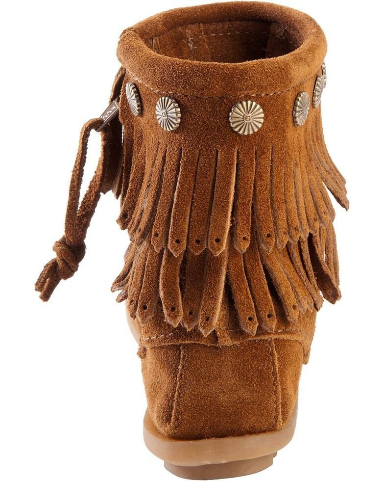 Minnetonka Double Fringe Side Zip Moccasin, Brown, hi-res