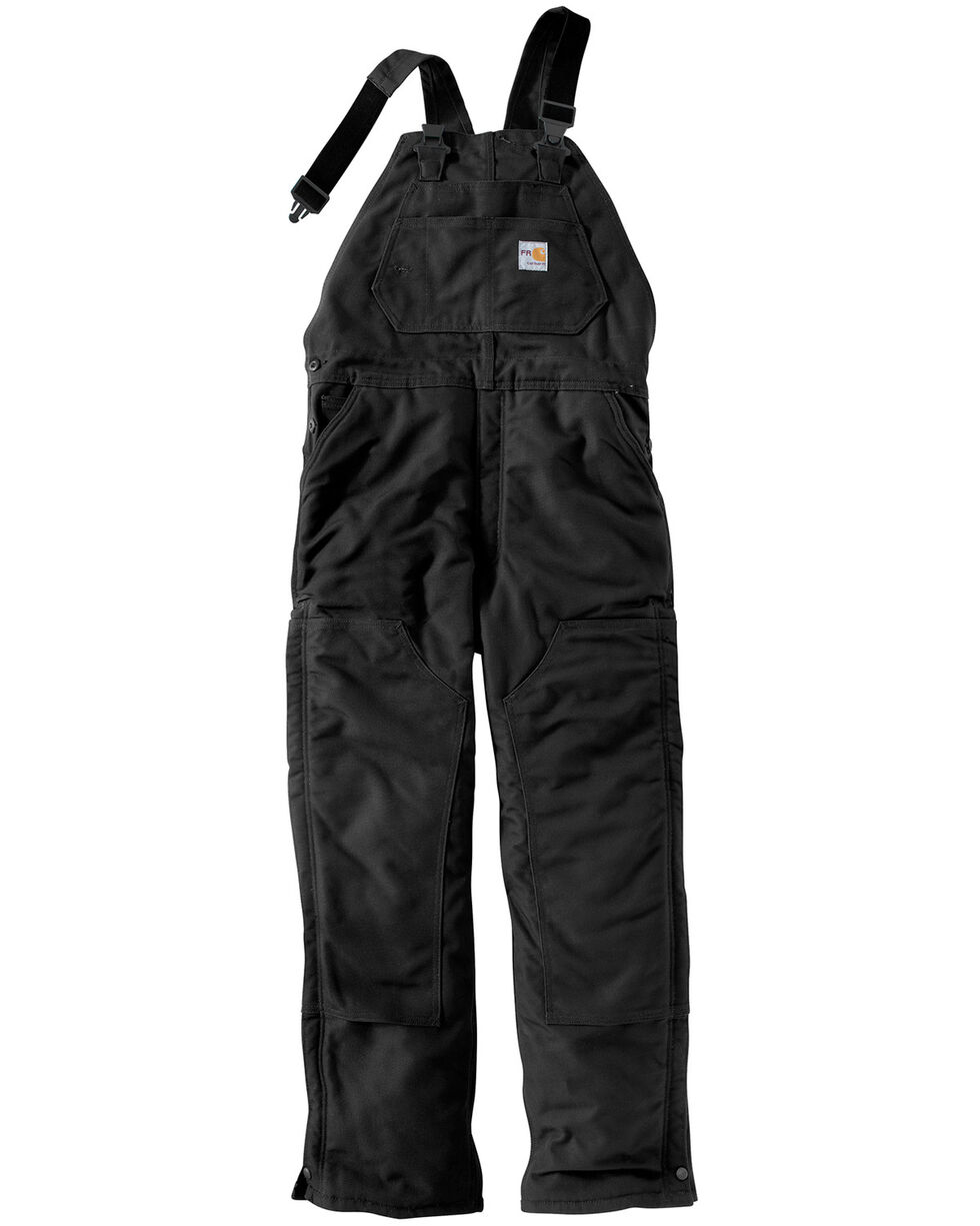Carhartt Men's Flame-Resistant Duck Bib Overalls - Big & Tall, Black, hi-res