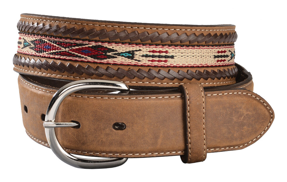 Silver Creek Men's Woven Leather Lace Belt, Bark, hi-res