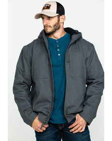 Hawx Men's Shadow Grey Canvas Quilted Bi-Swing Hooded Zip Front Jacket - Tall , Dark Grey, hi-res