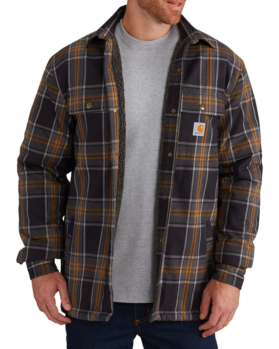 Carhartt Men's Hubbard Sherpa-Lined Shirt Jacket - Big, Black, hi-res
