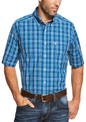 Ariat Men's Blue Short Sleeve Derek Shirt, Blue, hi-res