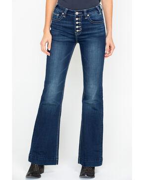 Rock & Roll Cowgirl Denim Applique High Rise Trousers , Medium Blue, hi-res