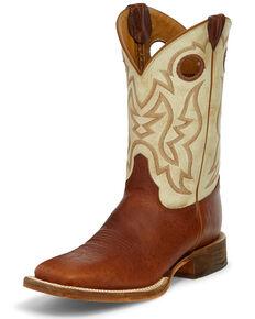 Justin Men's Caddo Damiana Western Boots - Square Toe, Cognac, hi-res