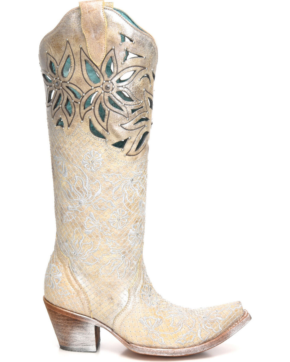 Corral Women's Metallic Cutout Embellished Cowgirl Boots - Snip Toe, Beige/khaki, hi-res