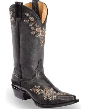 Shyanne Women's Christina Black Floral Western Boots - Snip Toe, Black, hi-res
