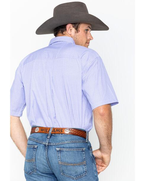 Wrangler George Strait Men's Purple Print Short Sleeve Button Down Shirt, White, hi-res