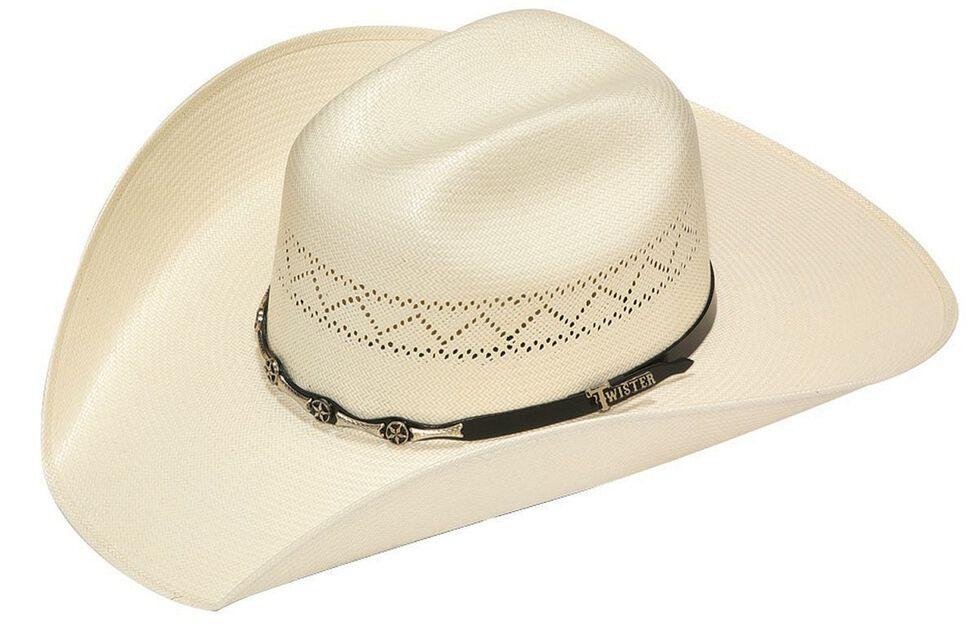 Twister 10X Shantung Star Concho Band Straw Cowboy Hat, Natural, hi-res