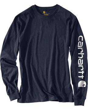 Carhartt Signature Logo Sleeve Knit T-Shirt - Big & Tall, Navy, hi-res