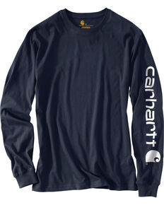 Carhartt Signature Logo Sleeve Knit T-Shirt - Big & Tall, Navy, hi-res