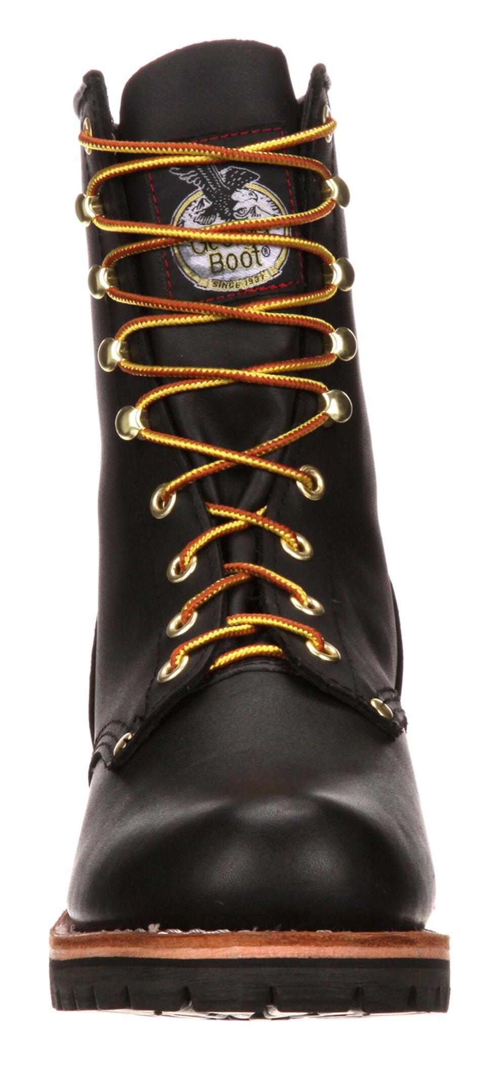 Georgia Logger Work Boots - Round Toe, Black, hi-res