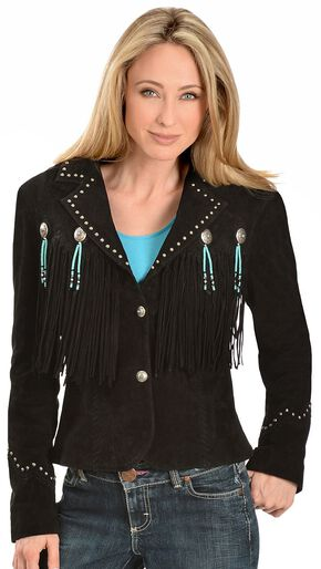 Scully Concho & Fringe Suede Leather Jacket, Black, hi-res