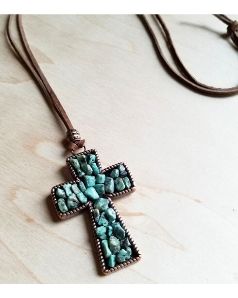 Jewelry Junkie Copper Cross with African Turquoise Accents on Leather Necklace, Turquoise, hi-res