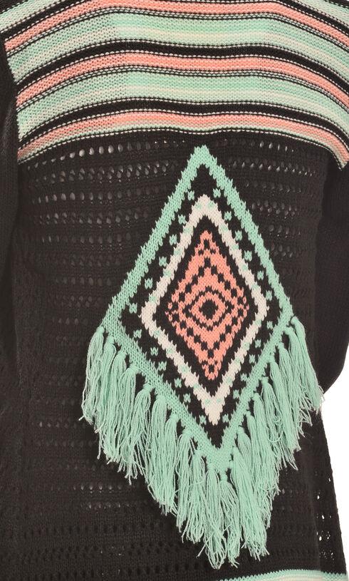 Derek Heart Girl's Black Aztec Fringe Jacquard Cardigan , Black, hi-res
