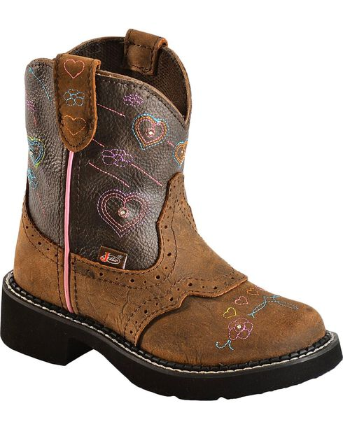 Justin Youth Gypsy Light Up Heart Embroidered Cowgirl Boots - Round Toe, , hi-res