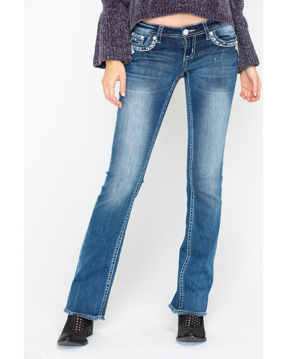 Grace In LA Women's Western Embroidered Low Boot Jeans  , Blue, hi-res