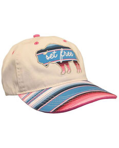 Cherished Girl Women's Set Free Bison Embroidered Canvas Ball Cap , Cream, hi-res