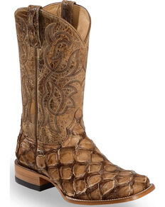 Cody James Pirarucu Exotic Boots -  Broad Square Toe , Brown, hi-res
