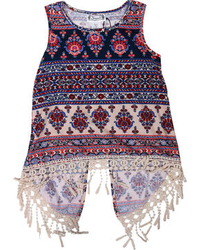 Shyanne Girls' Fringe Open Back Tank Top , Navy, hi-res