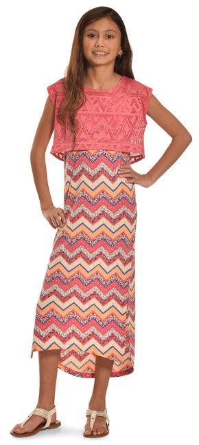 Derek Heart Girls' Aztec Printed Hi Lo Tank Dress, Coral, hi-res