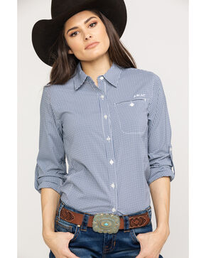 Ariat Women's Indigo Fade Check VentTek II Long Sleeve Shirt, Multi, hi-res