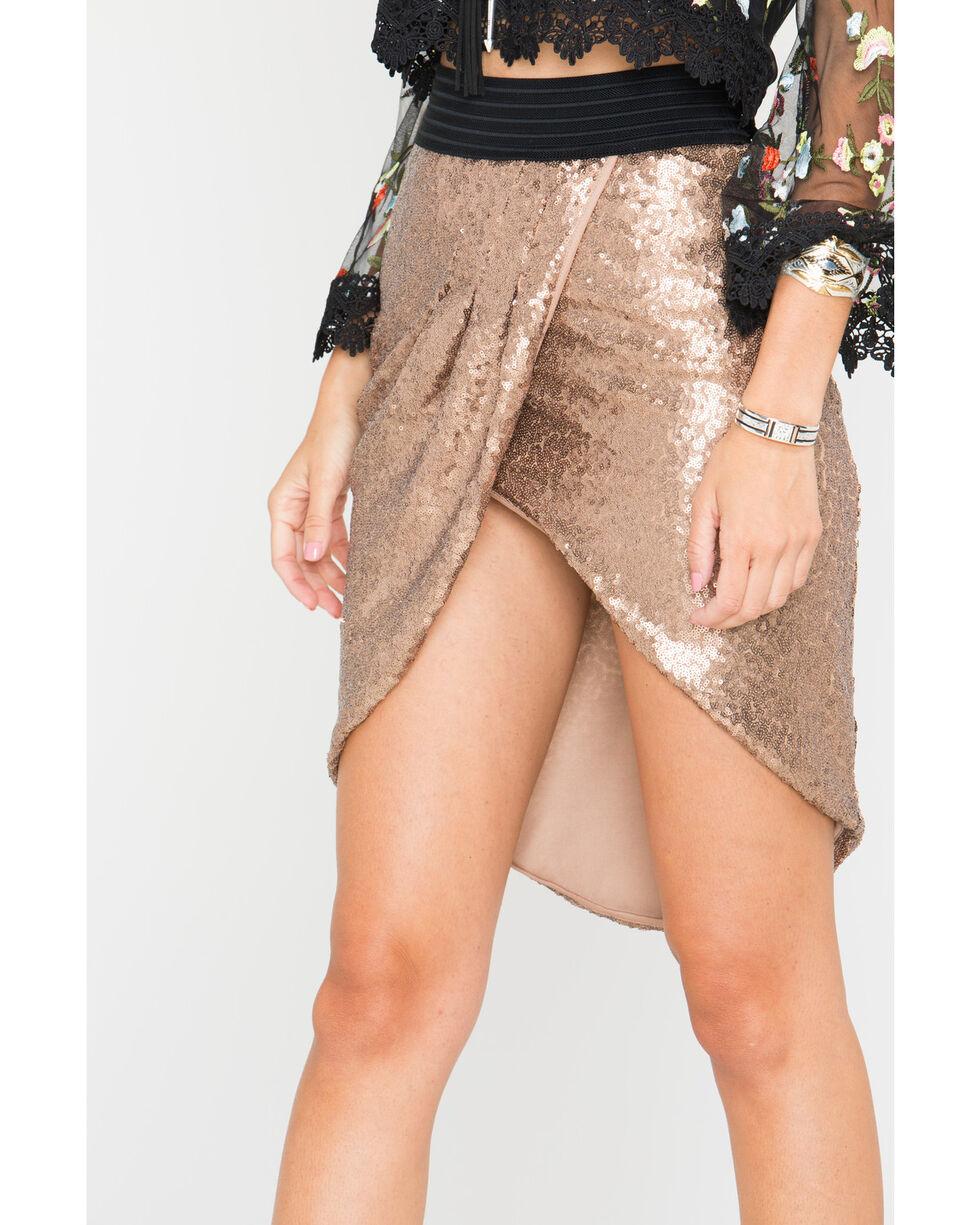 HYFVE Women's Bronze Sequin Tulip Skirt , Bronze, hi-res