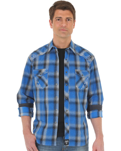 Wrangler Rock 47 Men's Plaid Two Pocket Snap Shirt - Big & Tall, Blue, hi-res