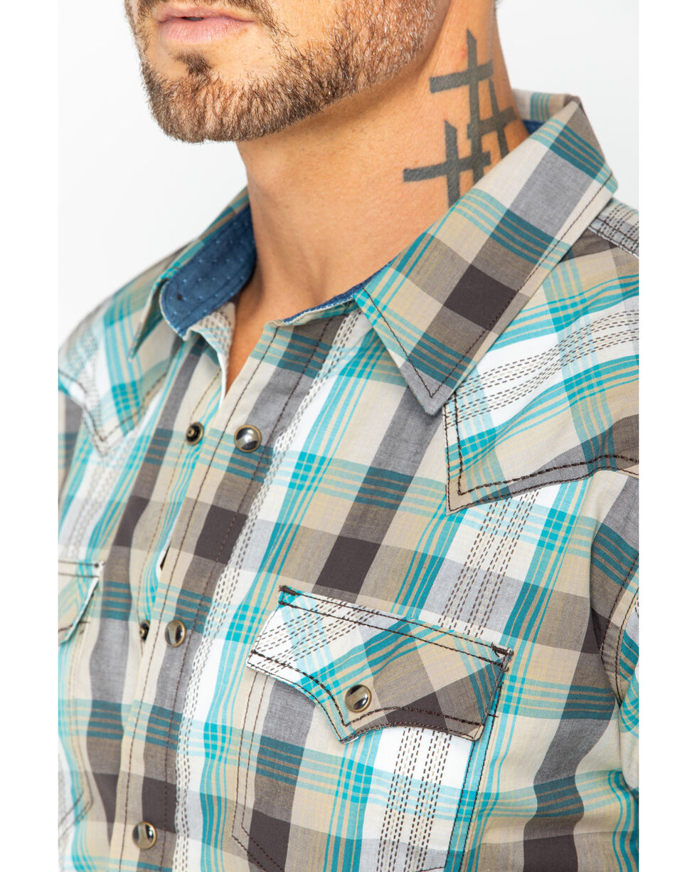 Cody James Men's San Felipe Brown Plaid Short Sleeve Western Shirt, Brown, hi-res