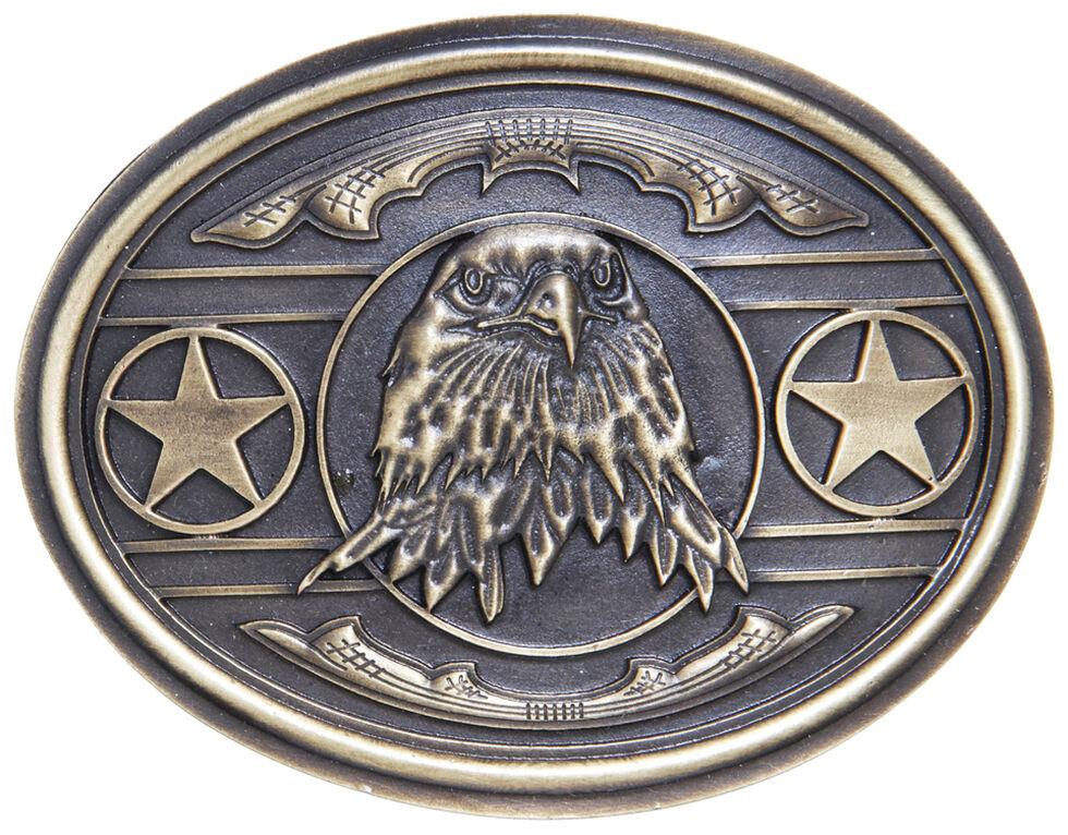 AndWest Men's Patriotic Bald Eagle with Stars Belt Buckle, Brass, hi-res