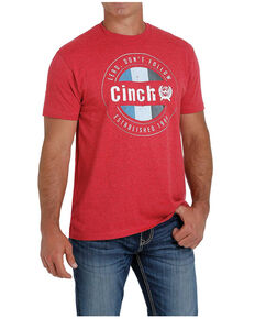 Cinch Men's Heather Red Circle Graphic Short Sleeve T-Shirt , Red, hi-res