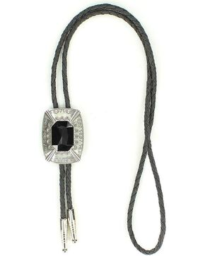 Rectangle Bolo Tie, Silver, hi-res