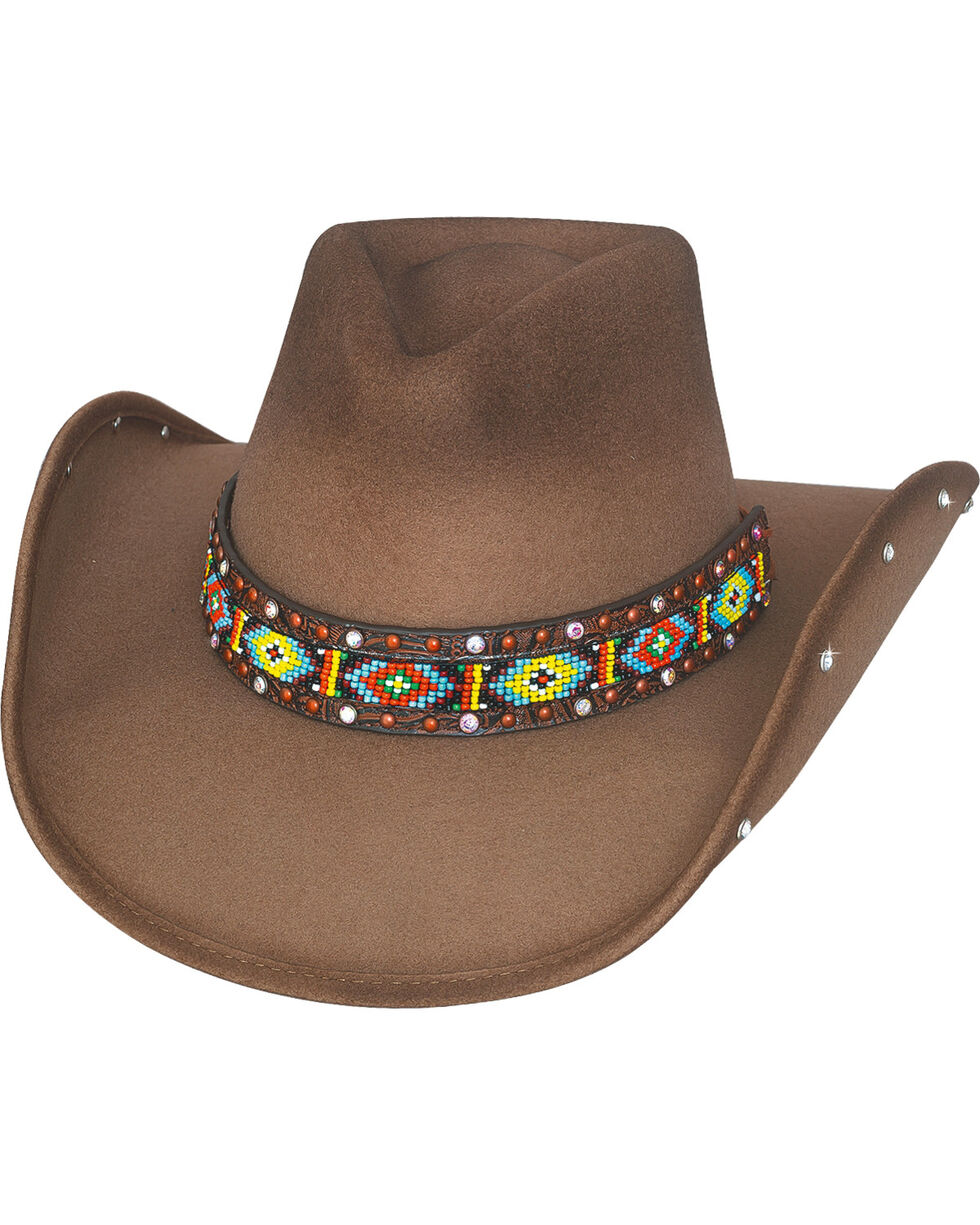 Bullhide Hats Women's Bad Axe River Wool Felt Cowboy Hat, Sand, hi-res