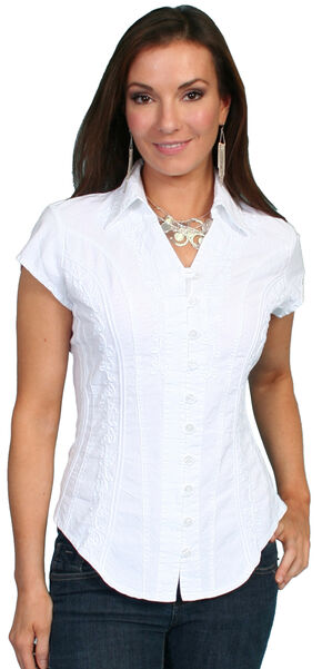 Scully Cap Sleeve Peruvian Cotton Top, White, hi-res