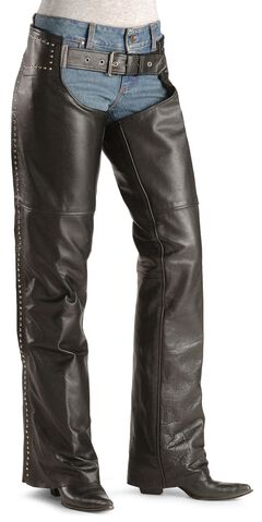 Milwaukee Studded Leather Motorcycle Chaps, Black, hi-res