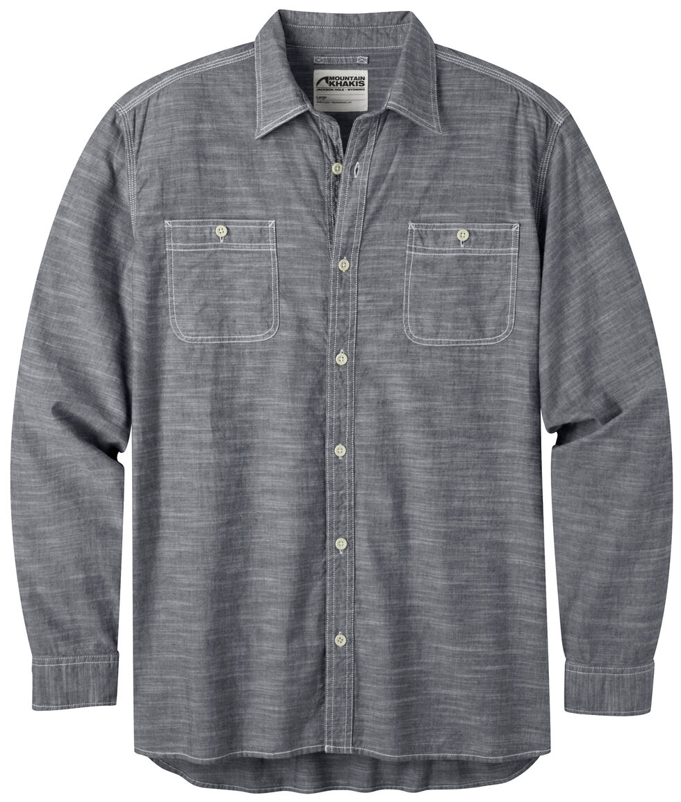 Mountain Khakis Men's Chambray Long Sleeve Shirt, Navy, hi-res