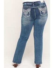 Grace in LA Women's Aztec Straight Jeans - Plus , Blue, hi-res