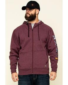 Ariat Men's Dark Burgundy Rebar Camo Flag Graphic Hooded Zip Front Work Jacket , Dark Red, hi-res