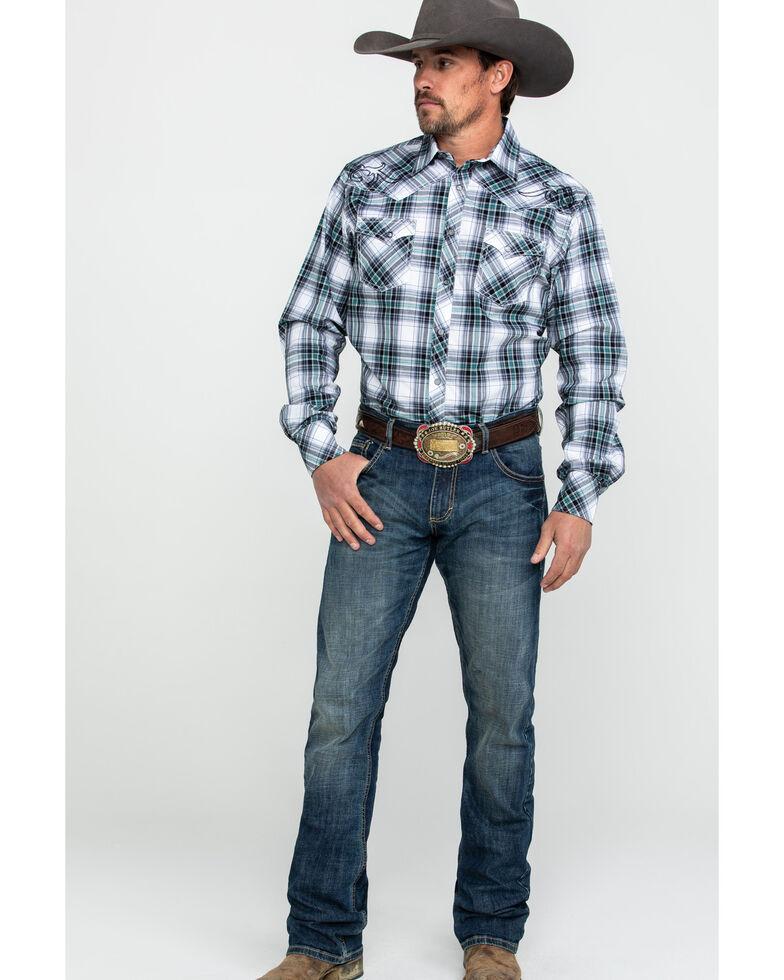 Rock 47 By Wrangler Men's Black Embroidered Plaid Long Sleeve Western Shirt  , Black, hi-res