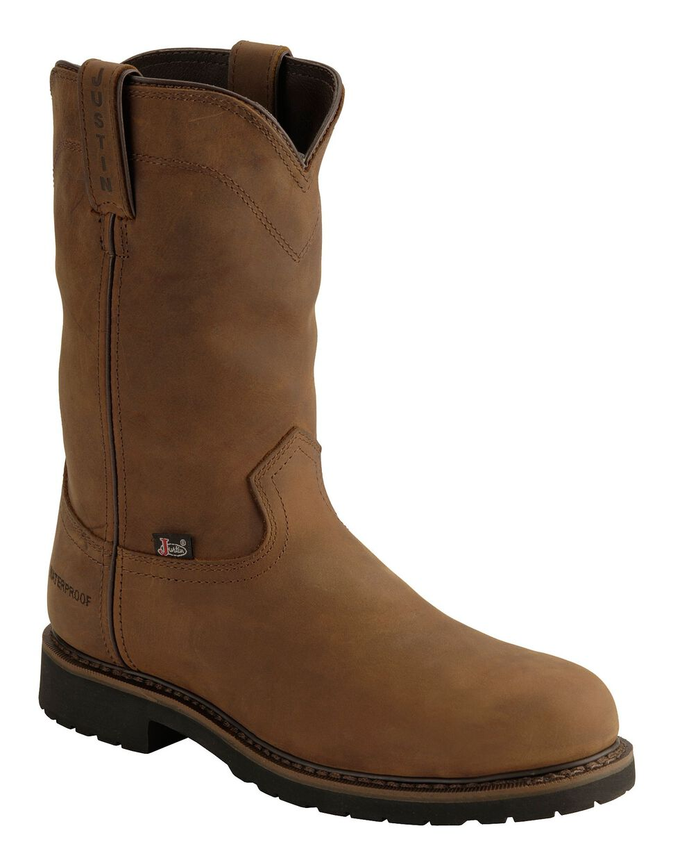 Justin Men's Drywall Waterproof Pull-On Work Boots - Steel Toe, Brown, hi-res