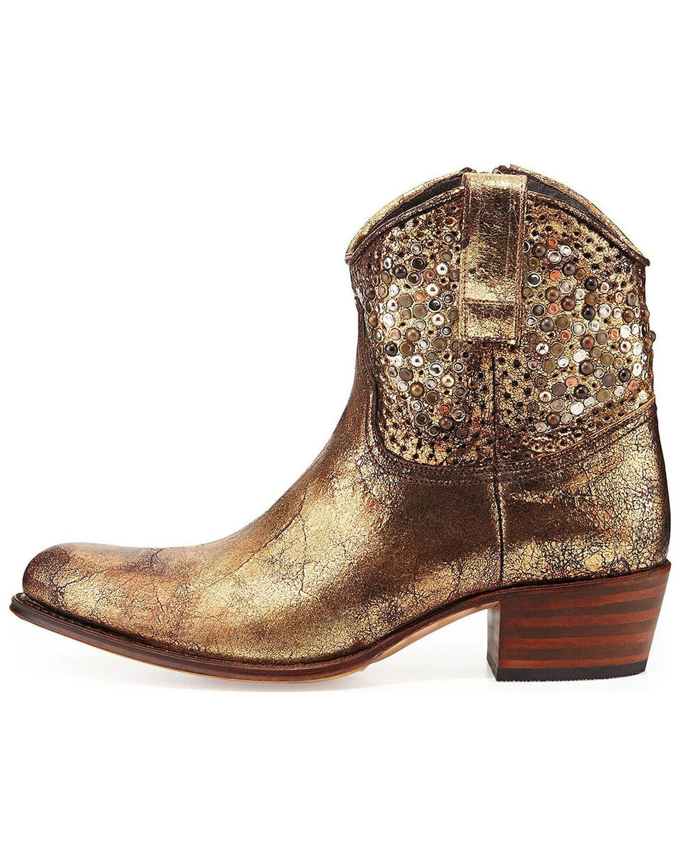 Frye Women's Deborah Studded Boots - Round Toe, Gold, hi-res