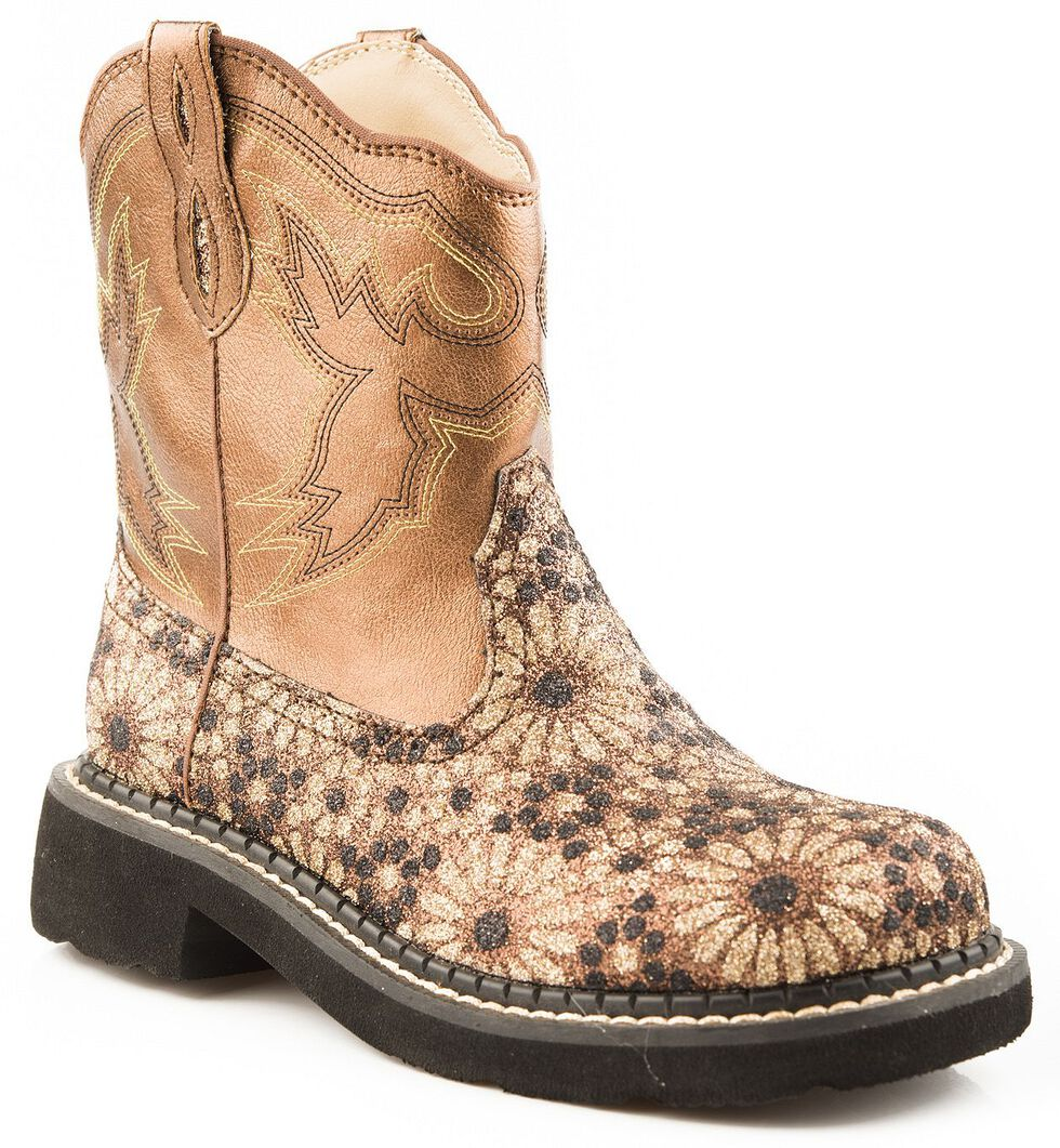 Roper Children's Chunk Glittery Flower Cowgirl Boots - Round Toe, Gold, hi-res
