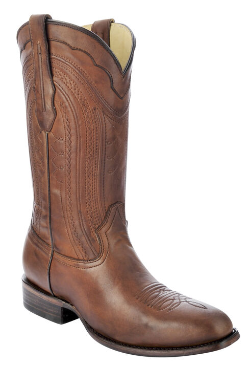 Corral Burnished Leather Cowboy Boots - Square Toe, Cognac, hi-res